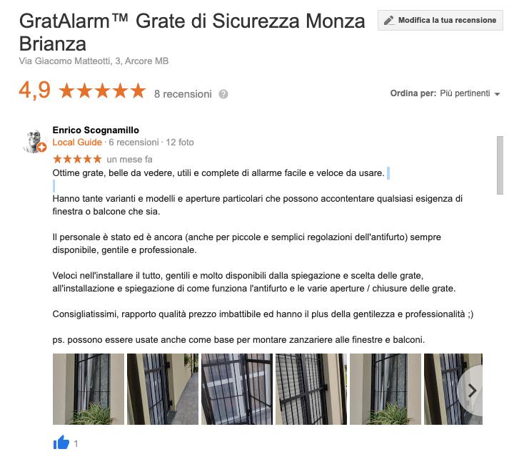 recensioni Google Gratalarm